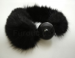 Black - Blue Fox Fur Gag Ball - Pelz Knebel - Fur Fetish